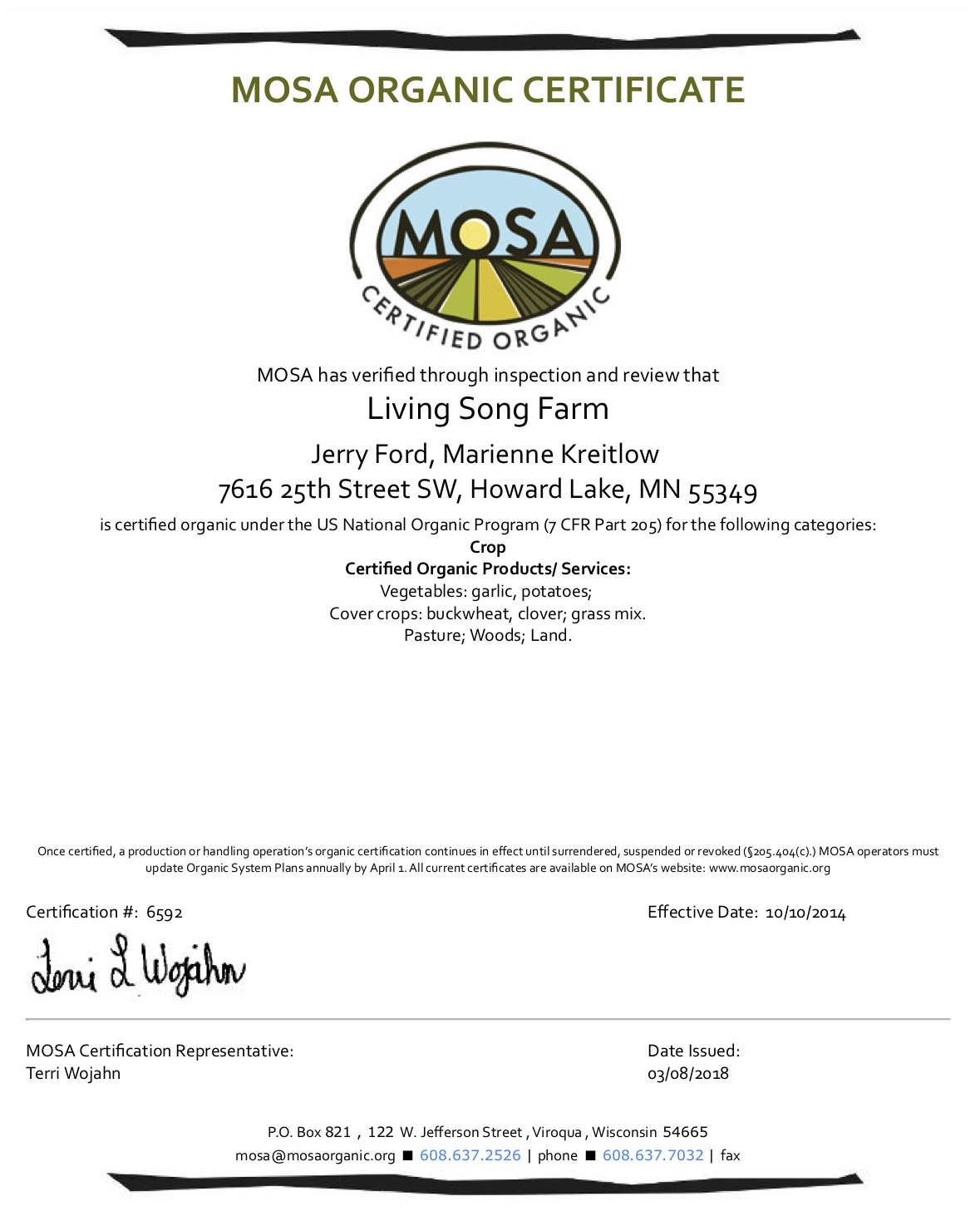 Organic Certification 2018 Living Song Farm